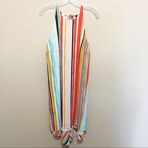 MOSSIMO Striped Rainbow Halter Mini Dress